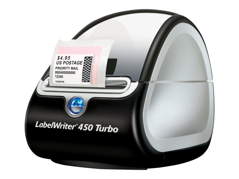 DYMO LabelWriter 450 Turbo. Label Printer. Compact size. Label, mail, and file smarter with proprietary DYMO Label v.8 Software. Prints up to 71 labels per minute, thermal printing technology, prints directly from Microsoft