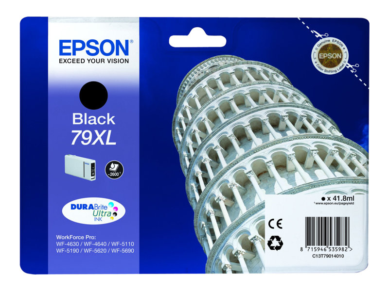 Epson 79XL - 41.8 ml - XL - black - original - ink cartridge - for WorkForce Pro WF-4630DWF, WF-4640DTWF, WF-5110DW, WF-5190DW, WF-5620DWF, WF-5690DWF