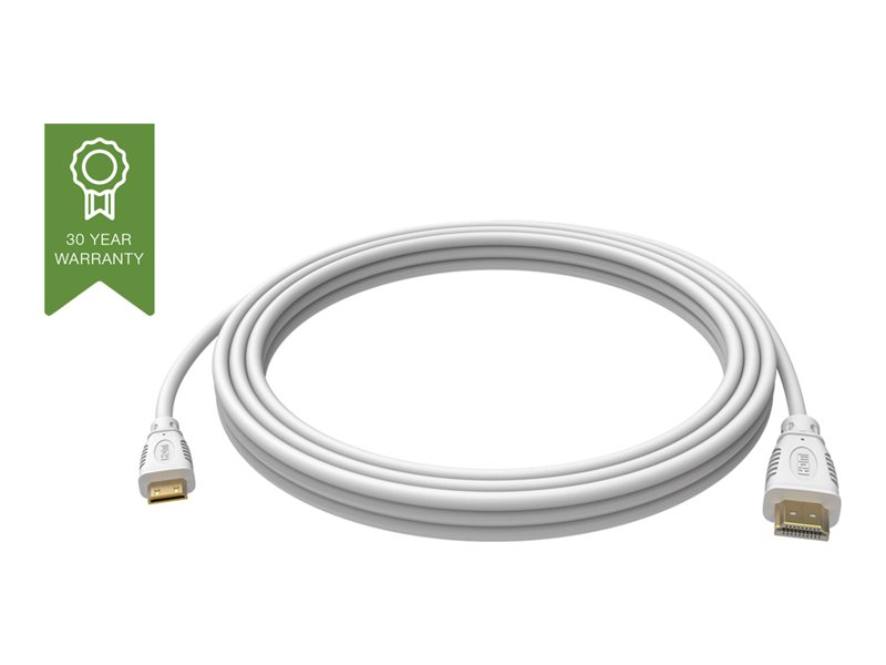 VISION Professional installation-grade HDMI to Mini-HDMI cable - LIFETIME WARRANTY - 4K - HDMI version 2.0 - gold plated connectors - ethernet - HDMI (M) to mini-HDMI (M) - outer diameter 6.0 mm - 30 AWG - 1 m - white