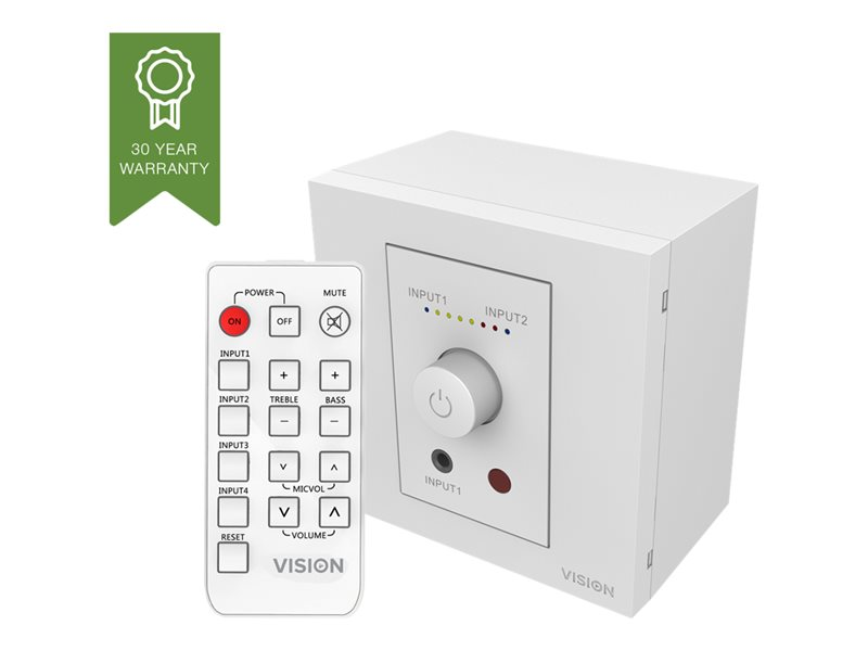 VISION Techconnect Faceplate Audio Amplifier - 2 x 25w (RMS @ 8 Ohms) - Two inputs (input 1 duplicated on front) - Remote control - comes on at preset level or resume previous volume - UK surround and backbox included - can d