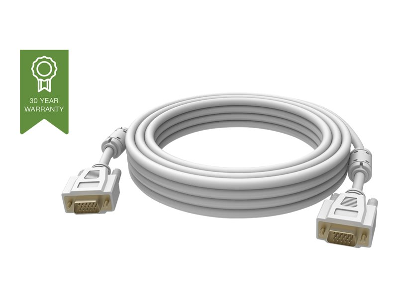 VISION Professional installation-grade VGA patch cable - LIFETIME WARRANTY - gold plated connectors - ferrite cores both ends - VGA (M) to VGA (M) - outer diameter 8.0 mm - 28 AWG - 1 m - white