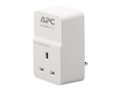 APC SurgeArrest Essential - Surge protector - AC 230 V - output connectors: 1 - United Kingdom - white