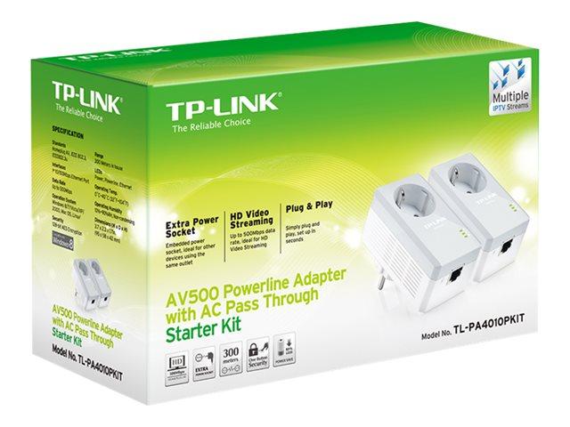 TP-Link TL-PA4010PKIT AV500+ Powerline Kit with AC Pass Through - Powerline adapter kit - HomePlug AV (HPAV) - wall-pluggable (pack of 2)