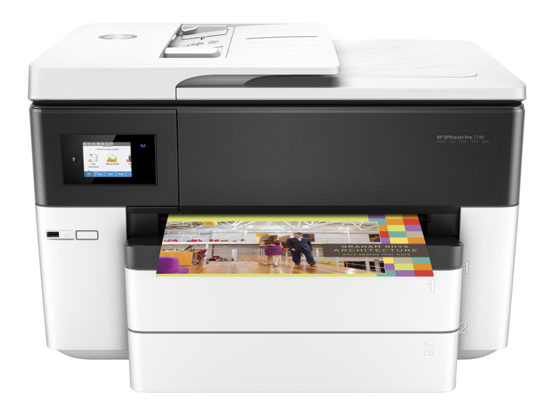HP Officejet Pro 7740 All-in-One - Multifunction printer - colour - ink-jet - A3/Ledger (297 x 432 mm) (original) - A3 (media) - up to 33 ppm (copying) - up to 34 ppm (printing) - 250 sheets - 33.6 Kbps - USB 2.0, LAN, Wi-Fi(