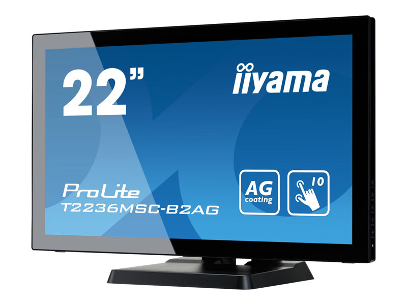 iiyama ProLite T2236MSC-B2AG - LED monitor - 21.5 (21.5 viewable) - touchscreen - 1920 x 1080 Full HD (1080p) @ 60 Hz - A-MVA - 250 cd/m?- 3000:1 - 8 ms - HDMI, DVI-D, VGA - speakers - black