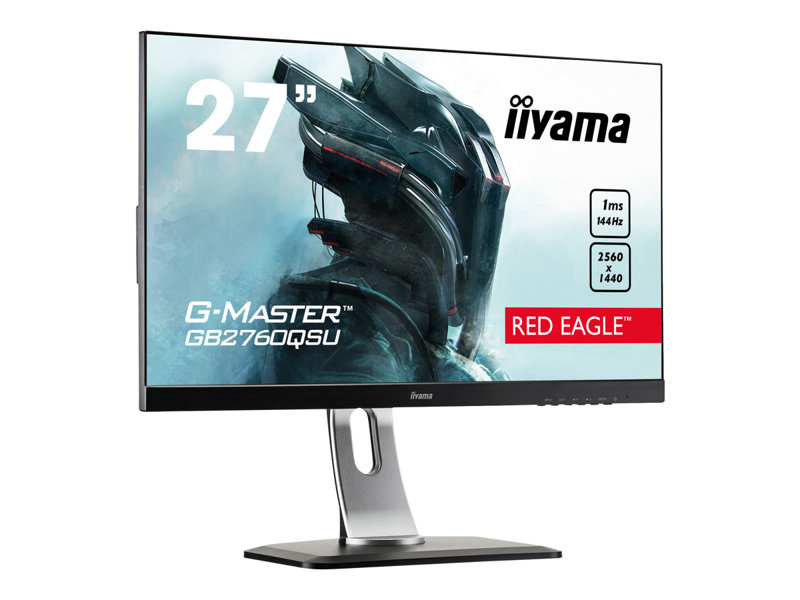 iiyama G-MASTER Red Eagle GB2760QSU-B1 - LED monitor - 27 (27 viewable) - 2560 x 1440 WQHD @ 144 Hz - TN - 350 cd/m?- 1000:1 - 1 ms - HDMI, DVI-D, DisplayPort - speakers - black
