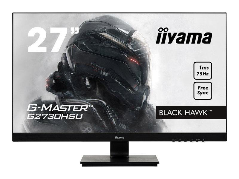 iiyama G-MASTER Black Hawk G2730HSU-B1 - LED monitor - 27 (27 viewable) - 1920 x 1080 Full HD (1080p) - TN - 300 cd/m? - 1000:1 - 1 ms - HDMI, VGA, DisplayPort - speakers - black