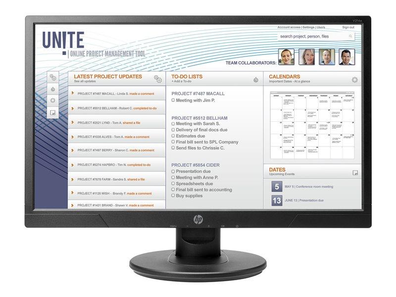 HP V214a - LED monitor - 20.7 (20.7 viewable) - 1920 x 1080 Full HD (1080p) - TN - 200 cd/m? - 600:1 - 5 ms - HDMI, VGA - speakers - black