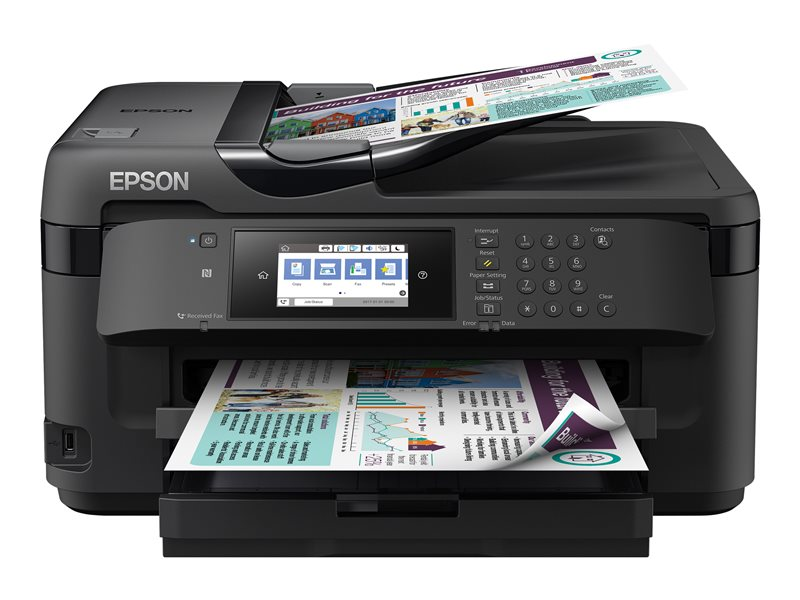 Epson WorkForce WF-7710DWF - Multifunction printer - colour - ink-jet - A3 (media) - up to 32 ppm (printing) - 250 sheets - 33.6 Kbps - USB 2.0, LAN, Wi-Fi(n), USB host, NFC