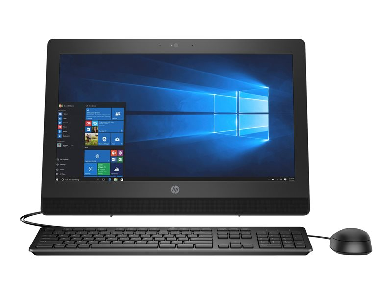 HP ProOne 400 G3 - All-in-one - 1 x Core i5 7500T / 2.7 GHz - RAM 4 GB - SSD 128 GB - DVD-Writer - HD Graphics 630 - GigE - WLAN: 802.11a/b/g/n/ac, Bluetooth 4.2 - Win 10 Home 64-bit - monitor: LED 20 1600 x 900 (HD+) - keyb