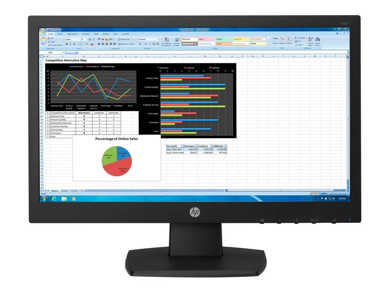 HP N223 - LED monitor - 21.5 (21.5 viewable) - 1920 x 1080 Full HD (1080p) - TN - 250 cd/m?- 600:1 - 5 ms - HDMI, VGA - black