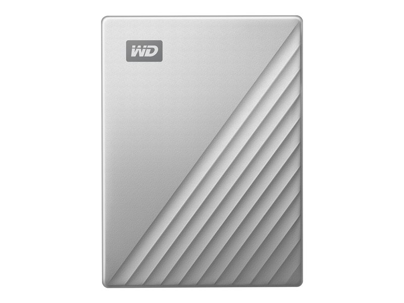 WD My Passport Ultra WDBC3C0020BSL - Hard drive - encrypted - 2 TB - external (portable) - USB 3.0 (USB-C connector) - 256-bit AES - silver
