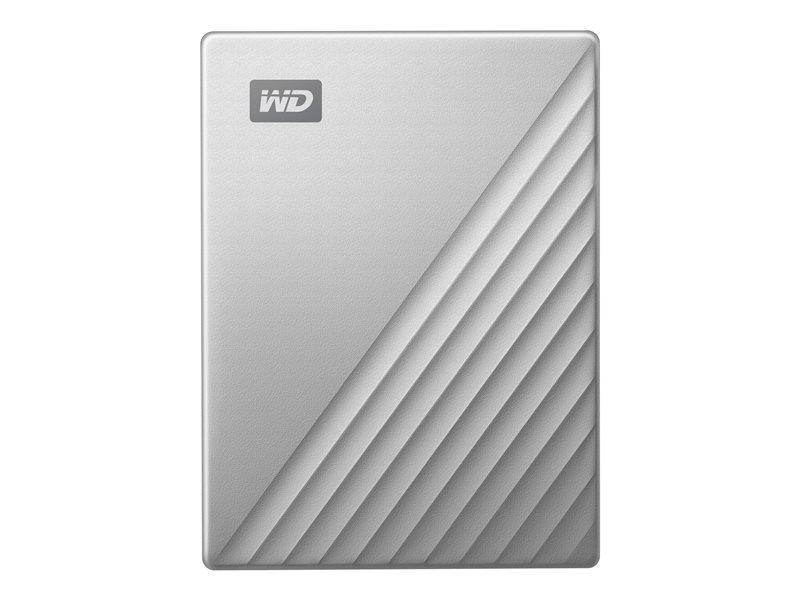 WD My Passport Ultra WDBC3C0020BSL - Hard drive - encrypted - 2 TB - external (portable) - USB 3.0 (USB-C connector) - 256-bit AES - silver