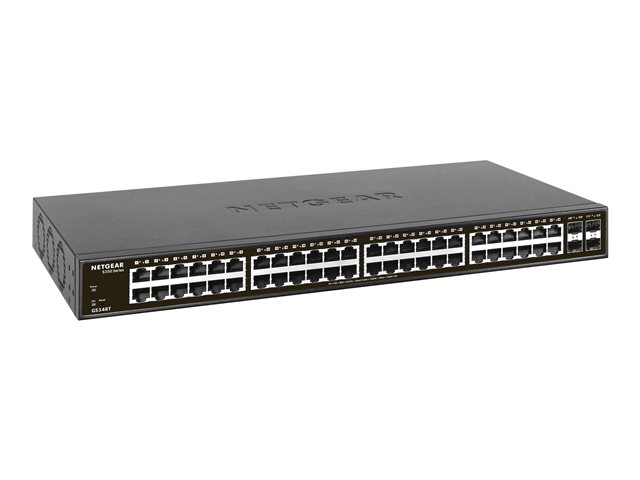 NETGEAR GS348T - Switch - smart - 48 x 10/100/1000 + 4 x SFP - desktop, rack-mountable