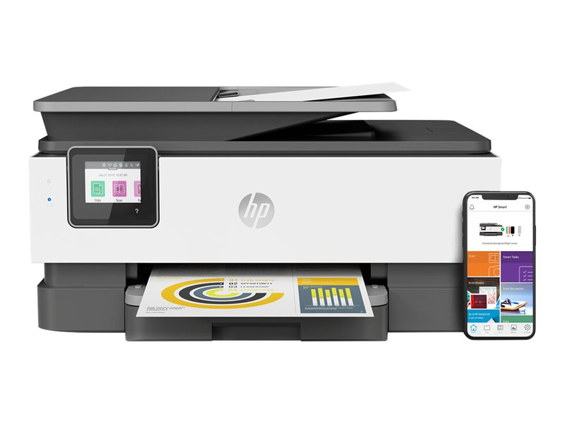 HP Officejet Pro 8022 All-in-One - Multifunction printer - colour - ink-jet - 216 x 297 mm (original) - A4/Legal (media) - up to 29 ppm (copying) - up to 29 ppm (printing) - 225 sheets - 33.6 Kbps - LAN, Wi-Fi(n) - light basa