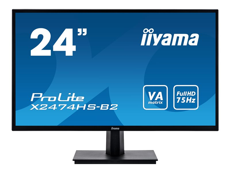 iiyama ProLite X2474HS-B2 - LED monitor - 24 (23.6 viewable) - 1920 x 1080 Full HD (1080p) - VA - 250 cd/m?- 3000:1 - 4 ms - HDMI, VGA, DisplayPort - speakers - black