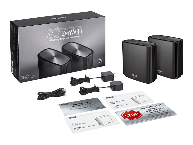 ASUS ZenWiFi AX (XT8) - Wi-Fi system (2 routers) - up to 5,500 sq.ft - mesh - GigE, 2.5 GigE - 802.11a/b/g/n/ac/ax - Tri-Band