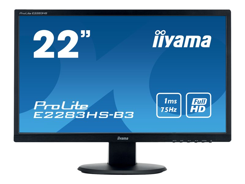 iiyama ProLite E2283HS-B5 - LED monitor - 22 (21.5 viewable) - 1920 x 1080 Full HD (1080p) @ 60 Hz - TN - 250 cd/m?- 1000:1 - 1 ms - HDMI, VGA, DisplayPort - speakers - black
